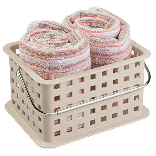 InterDesign Basic corbeille rangement, petit panier salle de bain en plastique pour accessoires de douche et soins, taupe