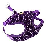 Kissherely Verstellbarer Hundegeschirr und Leinen-Set mit Strass-Mesh-Atmungsaktivem Gurt für Gehtraining (Lila-Groß)