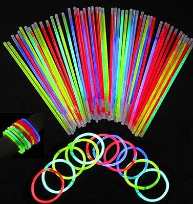 """San Jison 100pcs 8"""" Palo de Luz Partido Pulseras Luminosas con los Pulsera Conectadores 100pcs Kits para Crear Pulseras triples, Bola Luminosa de San Jison"""