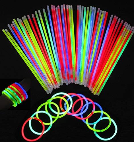 ichter für Armbänder inkl - Festival Ausrüstung, Party Deko, Neon-Leuchtstäbe, 5-Farb-Mix, 100 Verbinder ()