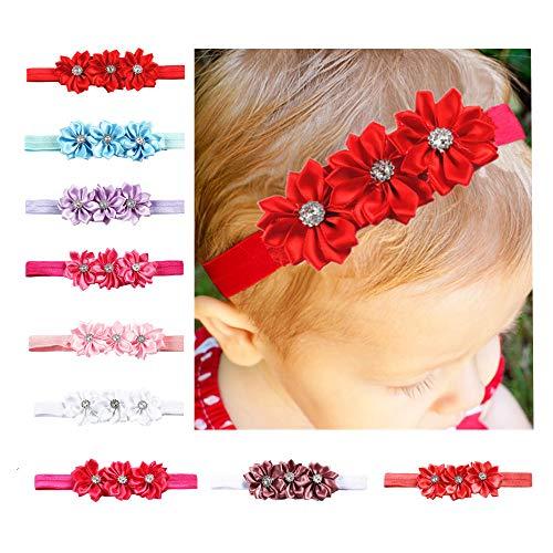 CHSEEA 9 Stück Baby Stirnbänder Elastische Haarband Turban Kleinkind Stirnband Haar Bogen Fliege Schleife Haarreifen Mädchen Head Wrap zur Kostüm Fotografie Props #2 (Engel Baby Kleinkind Weihnachten Kostüm)