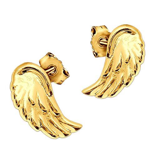 CLEVER SCHMUCK Goldene elegante kleine Ohrstecker Mini Flügel 8 x 4 mm plastische Form und glänzend poliert 333 GOLD 8 KARAT