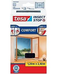 tesa Insect Stop COMFORT Fliegengitter für Fenster / Insektenschutz mit selbstklebendem Klettband in Anthrazit / 120 cm x 240 cm