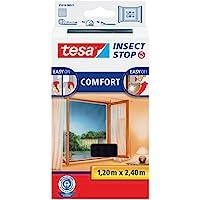 tesa Insect Stop Auto-agrippant Comfort - Moustiquaire pour porte-fenêtre Noir 1,20m x 2,40m