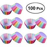 Cloverclover 100 Pcs Rainbow Color Cupcake Liner Cupcake Paper Baking Muffins Cases Cake Molds Pastry Cup Decorating Tools