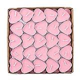 50X Toruiwa Herz Kerzen Teelichter Set Teelicht Set Romantische Rauchfrei Teelicht für Geburtstag Vorschlag Hochzeit Party (Rosa)