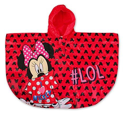 Minnie Cape de Pluie - Poncho de Pluie Disney (Rouge, 6-8 Ans)