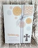 Einladung Einladungskarte Kommunion Konfirmation Blumen Taufe Kreuz silber apricot orange