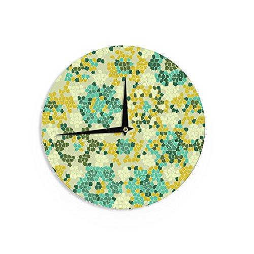 """KESS InHouse Laura Nicholson """"Flower Garden Mosaic"""" Wall Clock, 12"""""""