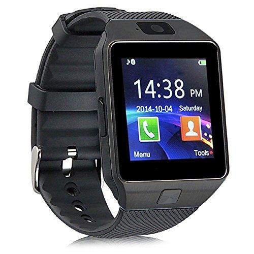 Preisvergleich Produktbild Pandaoo dz09 Bluetooth Smart Watch mit Kamera für Samsung,  HTC,  Sony und andere Android Smartphone Schrittzähler Fitness Sleep Monitor Anti-Lost Freisprecheinrichtung Call Nachricht Fernbedienung Benachrichtigt,  (schwarz)