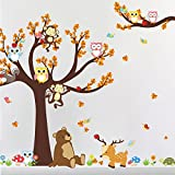 Large Cartoon Animals Owl Monkey Tree Wall Art Decal Sticker Mural Decor for Living Room Nursery Baby Girl Boy Kid Children's Room Bedroom Decoration
