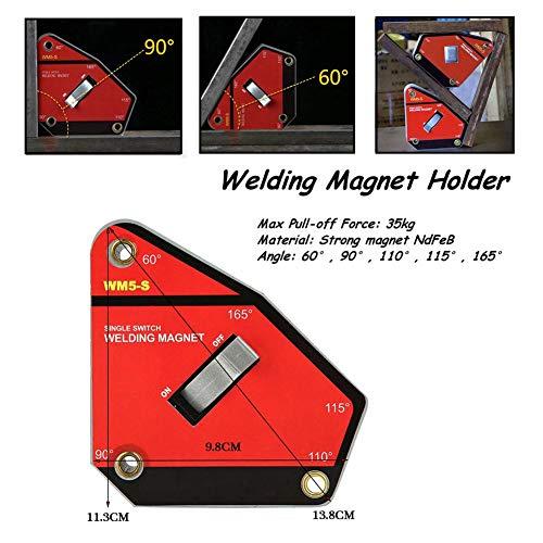 Escuadra Magnetica Para Soldar,Imanes Para Soldadura,60 °, 90 °, 110 °, 115 °, 165 ° Imán Fuerte Ndfeb Con Interruptor Magnético,Tamaño Pequeño y Peso Ligero