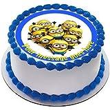 Decoración comestible para tarta de Minions19 cm con glaseado de fondant y estampado con tu felicitación