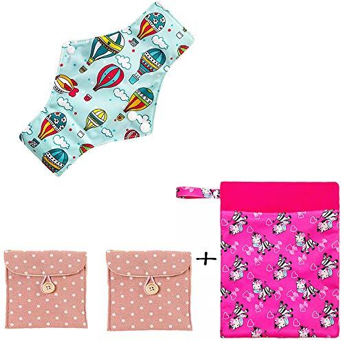 Waschbar Wiederverwendbare Menstruation Pads (6Er Pack) Medium Mit 1 Free Mini Wasserdichte Tasche, 3 Tuch Pads, Natürliche Weiße Bambus Futter Bunt,Q2