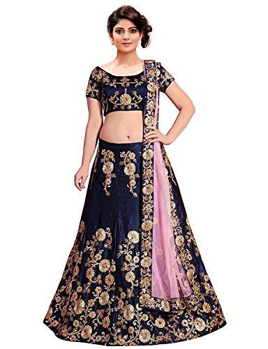 Shivansh Enterprise Women\'s Semi-stitched Lahenga Choli (SH-rimzim, Blue, Free Size)