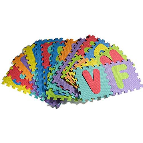 Eva-boden-matte (EVA Puzzle Matte aus Schaum, Alphabet Puzzle für Kinder, Spiel Matte, 26 Titel & Kanten EVA Schaumstoffmatte für Kinder, 12