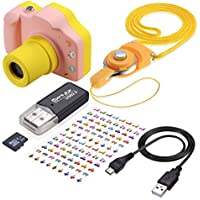 TR Turn Raise Cámara Digital para Niños, 1.5 Pulgadas Pantalla LED de Color con Tarjeta de Memoria de 8GB (Rosa)