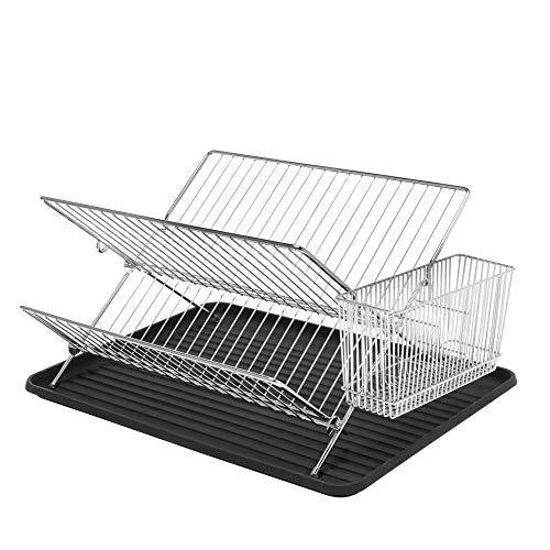 Simplywire – Escurreplatos plegable – Durable bandeja de secado con soporte para cubiertos – cromado