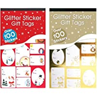 2 Books Glitter & Foil Christmas Gift Tags Stickers Over 200 Stickers Assorted