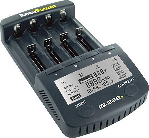 AccuPower Chargeur de Piles avec écran LCD, Fonction Fin de Cycle de Charge, Mesure de capacité, Sortie USB - pour Piles 18650/AA/Mignon/AAA/Micro/Ni-Cd/Ni-MH/Li-Ion