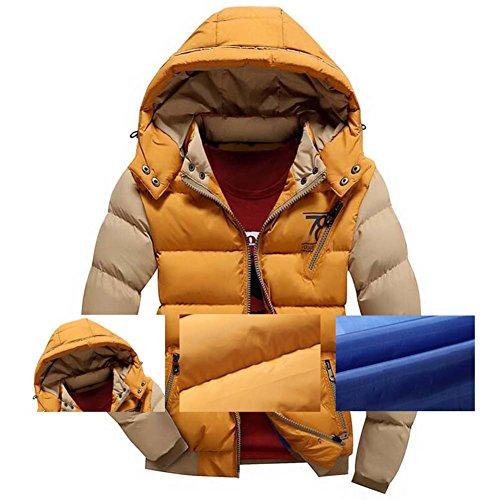 Highdas Herren Jacken Warm Baumwolle Mantel Hooded Outwear Dicken Parka Mantel Dunkel Gelb