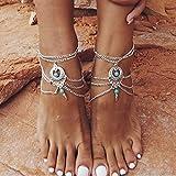 Yean Boho tobillera de playa con capas de turquesa, tobillera de plata, joyería para pies para mujeres y niñas