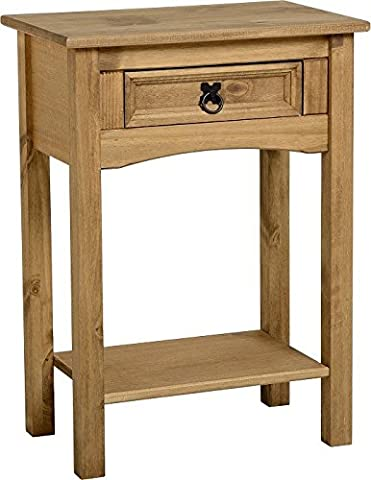 Corona 1 Drawer Console Table With Shelf In Distressed Wax Pine