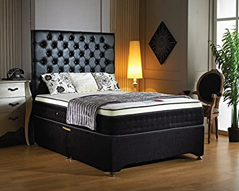 Luxury Buckingham Divan Base with 2000 pocket sprung memory mattress, 2 drawers and designer headboard- black chenille - SUPER KING(6'0)