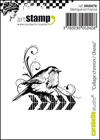 Carabelle Studio SMI0076 Cling Stempel Mini - Collage Checron Bird, Rubber, White Transparent, 5 x 6 x 0.5 cm