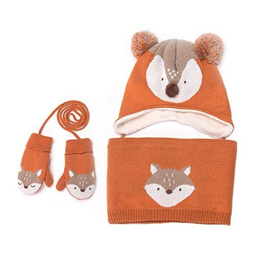 Baby Mützen Baby Fäustlinge Baby Mädchen Jungen Winter Warm Knit Mütze + Schal + Handschuhe 3Stück Set orange orange