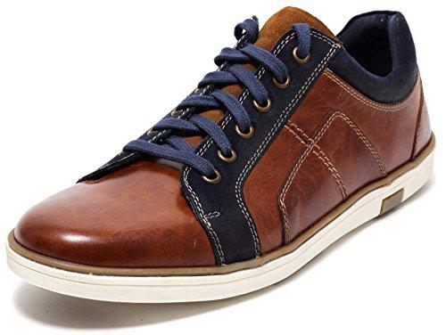 Herren Leder Sneaker Lederschuhe Halbschuhe Herrenschuhe Schnürschuhe Freizeitschuhe Slipper Business Casual Schuhe ECHTLEDER cognac braun Gr. 43-45