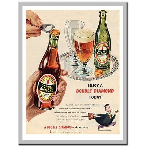 Doppio diamante 1950s birra annuncio Stampa Lavagnetta Magnetica Argento Con Cornice–41x 31cms (circa 40,6x 30,5cm)