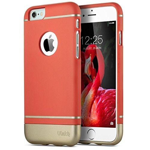iPhone 6 Hülle, ULAK iPhone 6s Hülle Schutzhülle Weißh Faser Anti-Kratz 2 Stück Design Hart Tasche Case Cover für Apple iPhone 6 /6S 4.7 Zoll (Rosé Rot) [Frei Gehärtetes Glas Displayschutzfolie] Rot