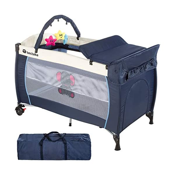 TecTake Portable Child Baby Travel Cot Bed Playpen with Entryway and Toys New - Different Colours - (Blue   No. 402201) TecTake Suitable for children up to an age of 36 months Bed Size: 128 cm length, 67 cm width, 81 cm height Changing mat: 68 cm length, 51 cm width 1