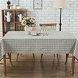 GWELL Leinen Tischdecke Eckig Abwaschbar Tischtuch Pflegeleicht Schmutzabweisend 10 Größe wählbar graue Karos 100 * 140cm - 3