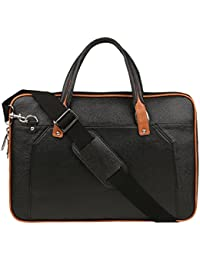 "SkinOutfit Synthetic Leather 15"" Executive Messenger Laptop Bag (Black)"