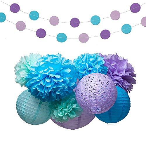 em Meer Partei Lieferungen Dekorationen Seidenpapier Pom Poms Laterne Garland Kit für Baby-Dusche Bridal Shower 16 Pcs (Meerjungfrau-baby-dusche Dekorationen)