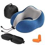 AGAKY Cuscino Viaggio-Cuscino Viaggio Memory Foam Lusso Soft Sleeping- Tessuto Terapia Magnetica - Velour Rimovibile Lavabile-Maschera Dormire, 2 Tappi Orecchie Borsa Viaggio (blu)