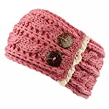BZLine® Frauen Crochet gestrickt Knöpfe Hut Mütze Stirnband Haarband (Pink)
