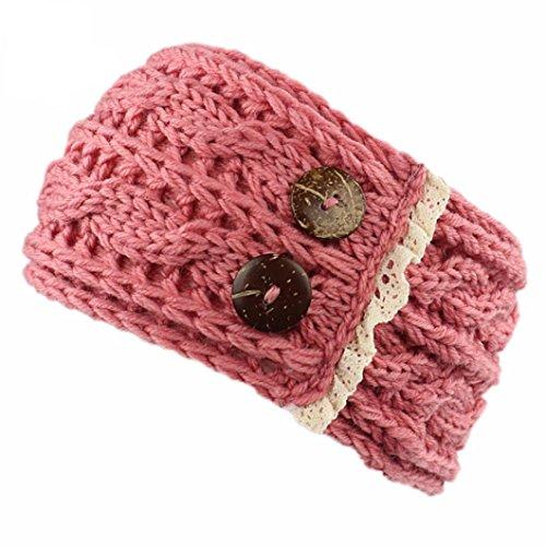 het gestrickt Knöpfe Hut Mütze Stirnband Haarband (Pink) (Stirnband Mädchen)