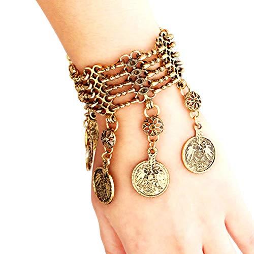 MHOOOA Mode Böhmische Münze Quaste Charme Armbänder Antike Goldfarbe Metallkette Armband Frauen Vintage-Schmuck