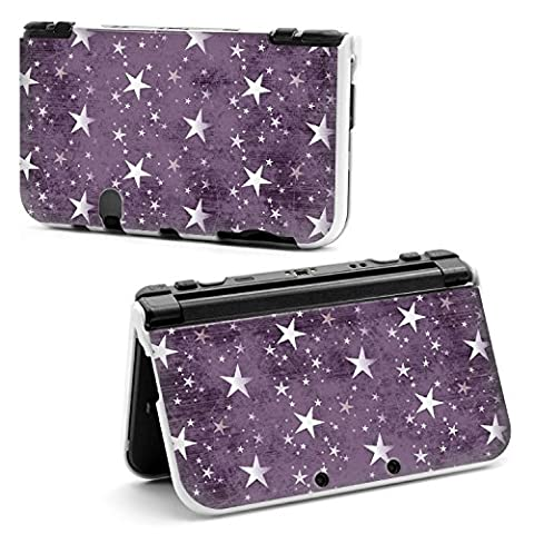 coque NEW 3DS XL Etoiles multi violet blanc stars