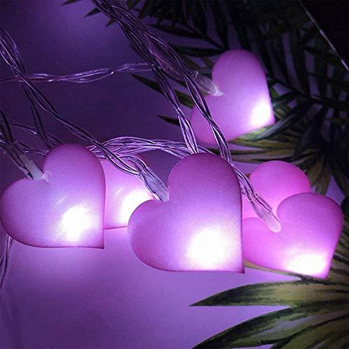 Rosa Herz Led String Lichterkette Batteriebetrieben Dekoratives Sternenklar Licht Romantische Lampe Für Zuhause Hochzeit Mädchen Schlafzimmer Party Valentinstag (Lila, 3 Meter 20 LEDs)