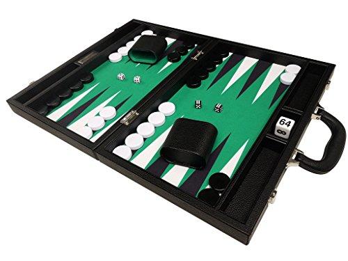 40 x 53 cm Premium Backgammon Set - Schwarz mit weißen und schwarzen Punkten
