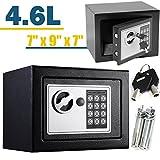 Safe Box 23x 17x 17cm Massiv Stahl Digital Electronic Cash Sicherheit Sicherheit Box Offenes Feuer 2Schlüssel Pin-Nummer Code für Home Office Store Easy Installation (Schwarz)