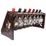 JRLinco Holz Weinregal Tischplatte mit Glashalter Für 7 Flasche 6 Glas 9,84 '' W * 11,22 '' H * 26,57 '' L