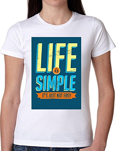 T SHIRT JODE GIRL GGG22 Z1555 LIFE SIMPLE NOT EASY DEEP THOUGHTS FUN FASHION COOL BIANCA - WHITE