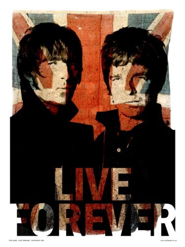 Oasis Liam and Noel Live forever Art Print Poster, 40 x 30cm
