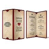Menükarten Hochzeit (10 Stück) - Vintage Herz - Speisekarte Getränkekarte in Rot