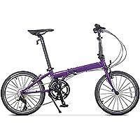 XMIMI Bicicleta Plegable Hombres y Mujeres Adultos Carretera Bicicleta Plegable de 20 Pulgadas 18 Velocidad